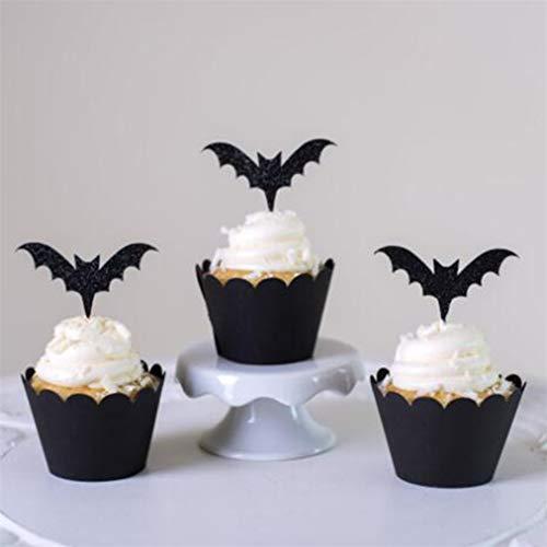 Halloween Cupcakes Toppers - Sevenfly 12 Stücke Halloween Thema Cupcake