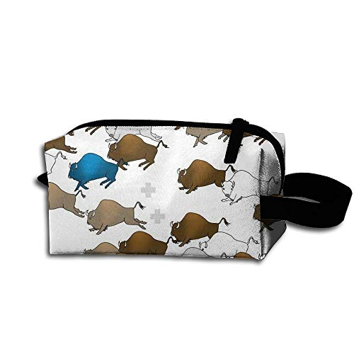 Travel Makeup Buffalo Stampede Beautiful Waterproof Cosmetic Bag Quick Makeup Bag Pencil Case -