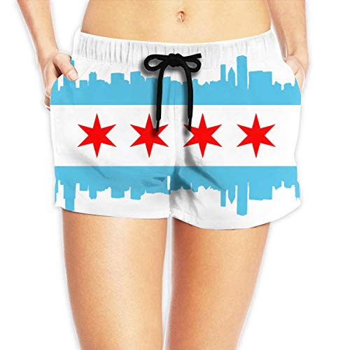 Jungen Surfbrett Swim Trunk (vbndfghjd Chicago City Women's Swim Trunks Quick Dry Beach Board Shorts Funny Novelty S)