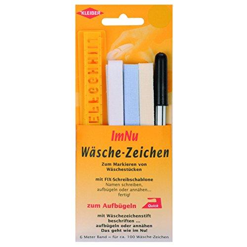 Kleiber Wäschezeichen aus Kunststoff / Gewebe zum Aufbügeln mit Schreibschablone und Stift