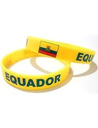 Unisex País Bandera nacional de silicona pulsera de goma de moda pulsera brazalete (Ecuador)