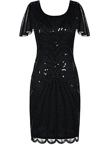 e Flapper Kleider mit Ärmeln Pailletten Art Deco Cocktail Gatsby Kleid 46-48 Schwarz (Plus Size Schwarz Flapper Kostüme)