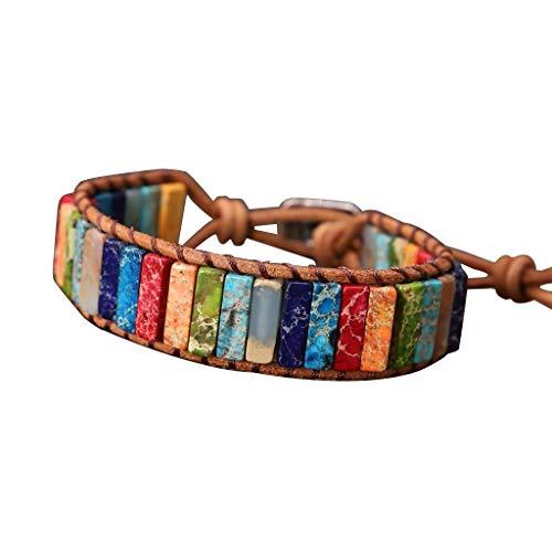 Jintime Chakra Armband Perlen Armband Leder Handgefertigt Imperial Wrap Verstellbares Armband Frauen/Männer Yoga Schmuckband Chakra Armband - Und Leder Perlen-wrap Armband