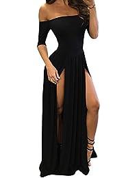 c98d97391b28 Donna Fuori dalla Spalla Manica Corta Vestito Lungo Puro Colore Abito-Spacco  Nero S