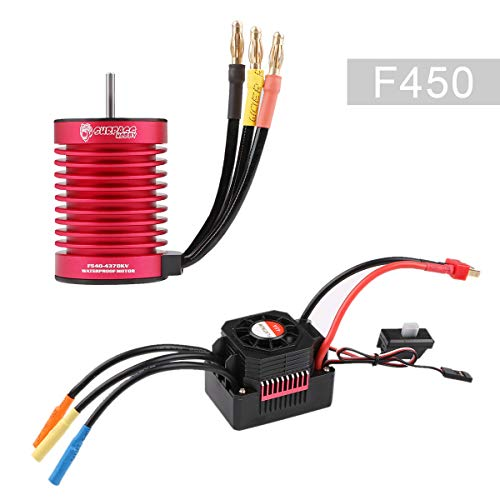 Crazepony-UK F540 4370KV Brushless Motor with 45A ESC Electric Speed Controller Waterproof Combo Set 3.175mm Shaft for 1/10 1/12 RC Car