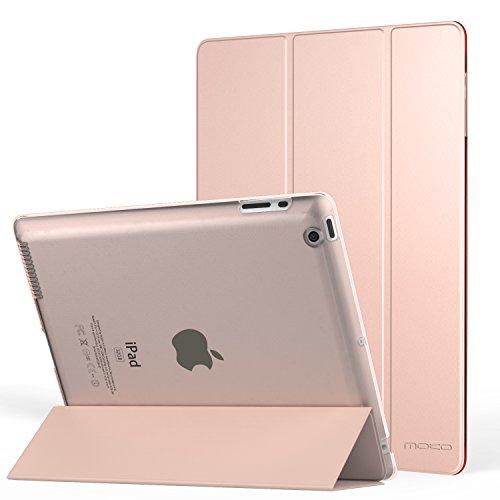 MoKo Hülle für iPad 2/3/4 - PU Leder Tasche Schale Smart Case mit Translucent Rücken Deckel, mit Auto Schlaf/Wach Funktion und Standfunktion für Apple iPad 2/3/4 9.7 Zoll Tablet-PC, Rose Gold
