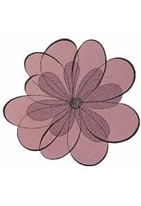 """centrino - rotonda - lilla-colorato ricamo """"fiori"""" 0*30 cm"""