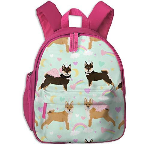 Kinderrucksack mädchen,Shiba Inu Stoff Shiba Dog Unicorn Stoff Cute Pastel Rainbows Cute Stoff - Light Mint_4507 - petfriendly, für Kinderschulen Oxfordstoff (pink) -