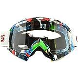 CRG Gafas unisex para motocross BMX ATV, montura colorida y lente transparente, para deporte al aire libre como esquí,snowboard, skate, escalada, casco de la motocicleta