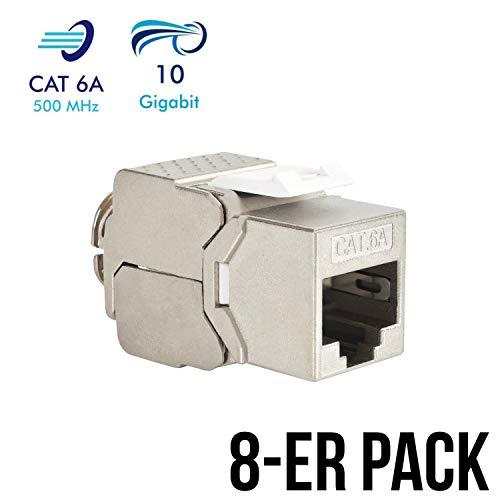 stone Jack Modul CAT 6A RJ45 Buchse vollgeschirmt 10 GBit/s Ethernet werkzeuglos CAT 7 Einbaubuchse Netzwerkkabel Verlegekabel Patchpanel Netzwerk Kupplung Netzwerkdose ()