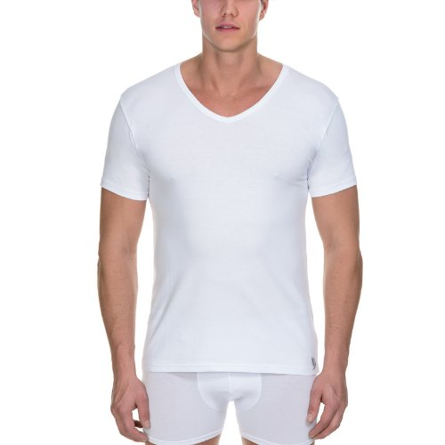 Bruno Banani Herren T-Shirt 2 Pack Cotton Simply V-shirt Weiß (Weiß 1)