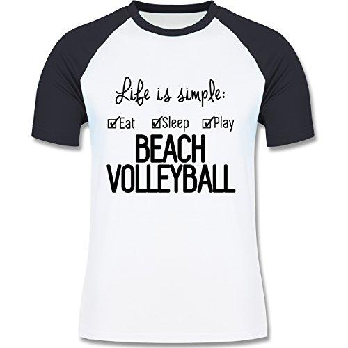 Volleyball - Life is simple Beachvolleyball - zweifarbiges Baseballshirt für Männer Weiß/Navy Blau