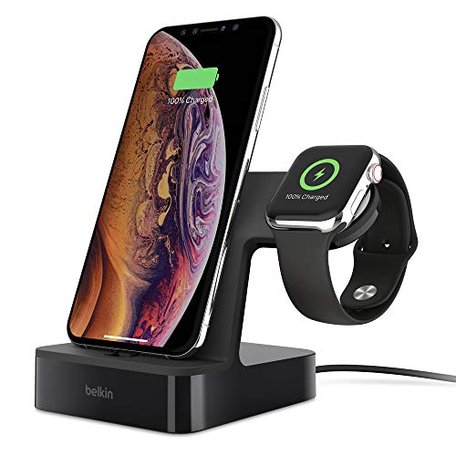 Belkin PowerHouse Ladestation für die Apple Watch und das iPhone (iPhone Ladestation für iPhone 11, 11 Pro/Pro Max, XS, XS Max, XR, X, 8/8 Plus und andere Modelle, Apple Watch Series 4, 3, 2, 1)