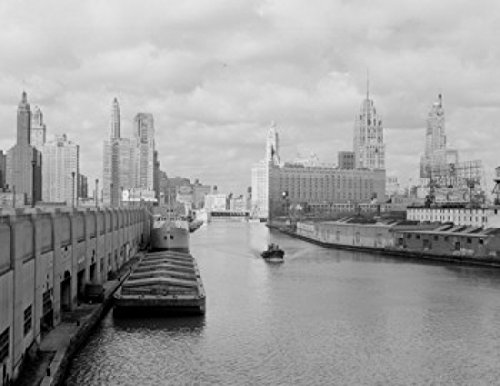 USA Illinois Chicago Chicago River Wrigley Building Tribune Tower and Sheraton Hotel in Background Poster Drucken (60,96 x 91,44 cm) -