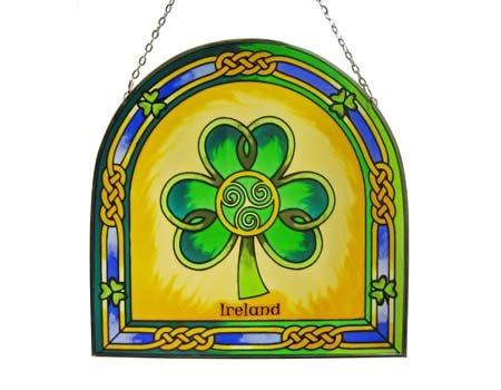 16 cm Buntglastafel mit Kleeblatt und Triskele zum Aufhängen
