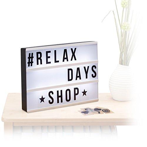 Relaxdays Light Box, Leuchtbox mit 85 Zeichen, Buchstaben, Zahlen, LED Leuchtschild, HBT: 22 x 30 x 4,5 cm, weiß/schwarz