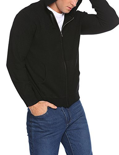 Herren Strickjacke Cardigan Casual Warm Zip Hoodie Sweatjacke mit Kapuze Schwarz