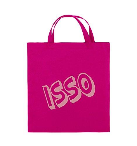 Comedy Bags - ISSO - COMIC SCHIEF - Jutebeutel - kurze Henkel - 38x42cm - Farbe: Schwarz / Silber Pink / Rosa