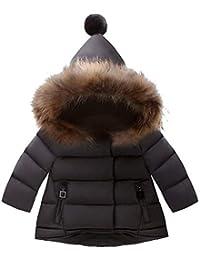 Bambina Piumino con Cappuccio di Pelliccia Invernale Maniche Lunghe Caldo  Leggero Antivento Giacche Giubbotto imbottito 0bf56a59d14