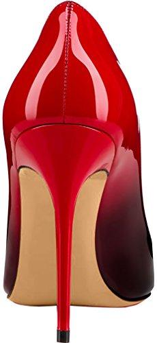 ELEHOT Femme 12cm Taille EU 34-46 Elenow Aiguille 12CM Synthétique Escarpins rouge Gradient-10cm