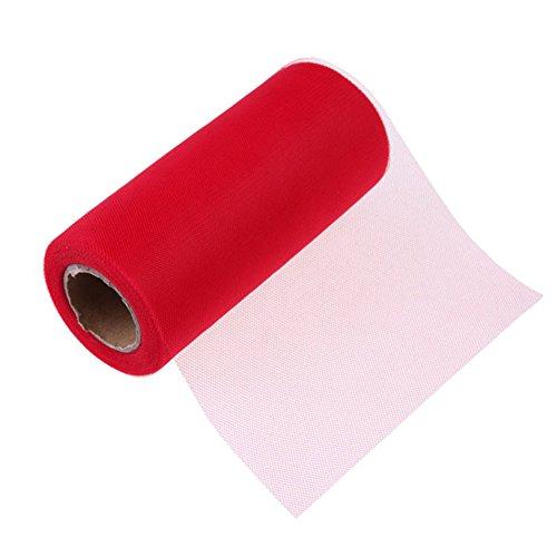 Lumanuby Tüll Rolle Polyester Netz Band Reine Farbe Tüllband Deko für Hochzeit Tisch Geschenk Verpackung oder Tutu Ballettrock 25 Yards (Rot)