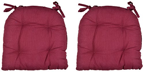 "Tanish Cotton Mahroon Chair Pads(Set of 2,Cotton, 16""X16"")"