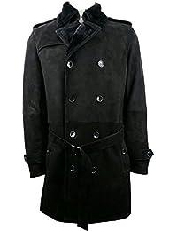 UNICORN Hommes Peau de mouton Fourrure Tranchée Manteau - Réal Cuir Veste - Noir #5Z