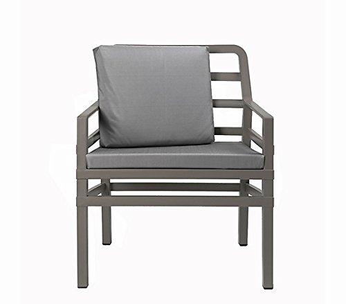 Gartensessel / Sofa Lounge Aria Kunststoff grau-braun / Kissen grau