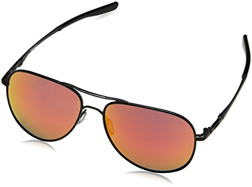 Oakley Unisex-Erwachsene 0Oo Elmont M & L 411904 60 Sonnenbrille, Schwarz (Satin Black/Rubyiridium),