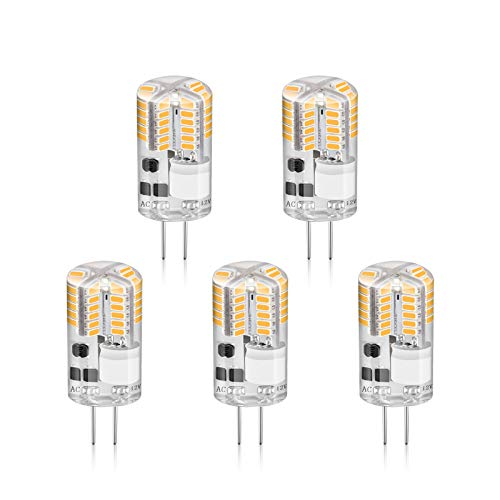 Creyer G4 LED Lampen Kein Flackern / 210 lumens/ 2.5W Ersetzt 20W Halogenlampen/Warmweiß(2900K) / G4 LED Leuchtmittel Birne/AC/ DC12V/ Nicht Dimmbar / 5er Pack - 2900k Lampe