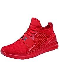 FOANA Las Zapatillas de Deporte Deportivas con Cordones Planas de los Hombres Usan una Zapatilla de Deporte de Color sólido Resistente