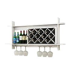 Idea Regalo - Porta Vini da Parete Scaffale per Vini a Parete in Legno MDF Cabinet Grid Creativo Appeso portabottiglie per Vino Grande Bicchiere di Vino Scaffale Calice calici Rack Decorazione