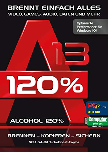 Alcohol 120% Version 13 - Brennen, Kopieren, Rippen, Sichern Windows 10 / 8.1 / 7 (Dvd-ripper-software)