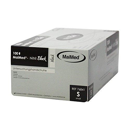 Maimed Nitril Black schwarze Nitrilhandschuhe Einweghandschuhe puderfrei Untersuchungshandschuhe XS-XL (S (Small))