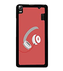 Music Headphones 2D Hard Polycarbonate Designer Back Case Cover for Lenovo K3 Note :: Lenovo A7000 Turbo