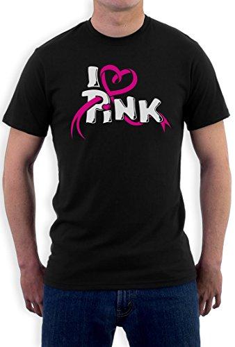 I love Pink - T-Shirt mit Symbol im Kampf gegen Brustkrebs T-Shirt Medium Schwarz (Brustkrebs-schwarz T-shirt)