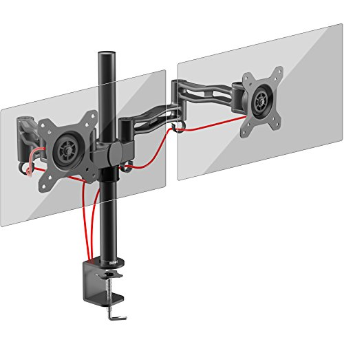 Duronic DM352 /BK Dual PC Monitor Arm Stand Desk Mount Screen Bracket Clamp Double / Twin | LCD | LED | Tilt and Swivel (Tilt ±15°| Swivel 180°| Rotate 360°)