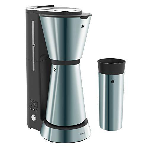 WMF KÜCHENminis Aroma Kaffeemaschine mit Thermoskanne (870 Watt, Filterkaffee 5 Tassen, Thermobecher to go (350ml), 24 Stunden-Timer, Abschaltautomatik) cromargan matt/metallic blau