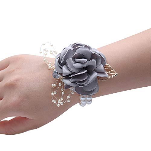 Kayard Hochzeit Braut Handgelenk Corsage Brautjungfer Handgelenk Blume Corsage für Hochzeit Abschlussball Party Homecoming grau (Handgelenk Corsage Diy)