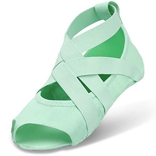 JOINFREE Yoga Socks for Women, Toeless Pilates Ballet, Bikram Fitness Socks with Anti-Skid Grips Light Green, 6/6.5 UK
