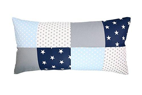 ULLENBOOM ® Patchwork Kissenbezug Blau Hellblau Grau (40x80 cm Kissenhülle, Baumwolle, ideal als Dekokissen, Kinderzimmer Zierkissen, Motiv: Sterne)