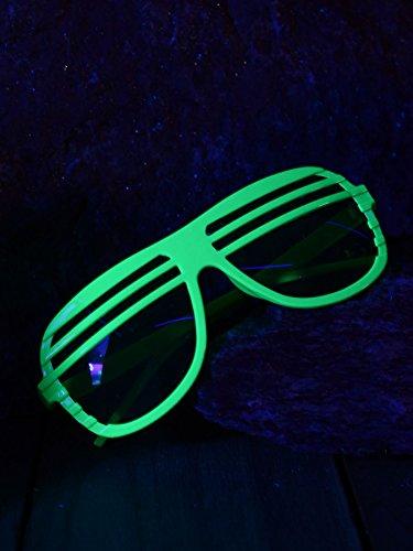 Schwarzlicht Brille Oval mit Lamellen Disco Neon Grün
