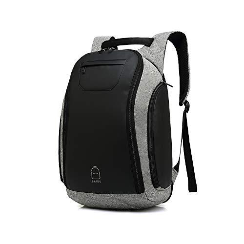 KTZLL Computer Tasche Gitterfach atmungsaktiv Dicke Umhängetasche Multifunktionsspeicher Rucksack USB-Laderucksack,Gray Zellulare Systeme