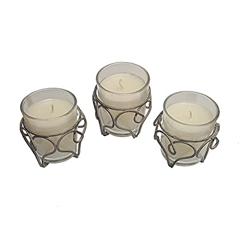 3 Pack Wax Filled Votives Candles in Round Glass Metal Frame Holder