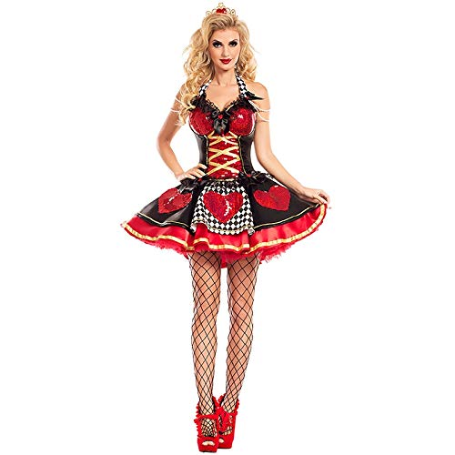 Königin Herzen Leicht Der Kostüm - QAQBDBCKL Kostüm Frauen Sexy Königin Der Herzen Kostüm Rot Königin Cosplay Kostüm für Halloween Weibliche Party Phantasie Kleid