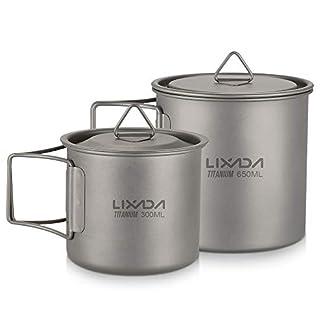 Lixada Titanium Cup Portable Camping Picnic Water Cup Mug with Lid Foldable Handle 300ml / 350ml / 420ml / 550ml / 650ml / 750ml 3