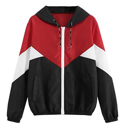 Hirolan Frauen Langarm Patchwork dünne Skinsuits Regenjacke Leichte Kurze Jacke mit Atmungsaktiv Futter Herbst wasserdichte Übergangjacken mit Kapuze - Segeltuch-jacke