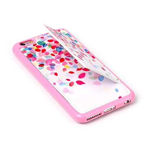 Etche Supporter coque pour iPhone 6 Plus/iPhone 6S Plus,iPhone 6 Plus/iPhone 6S Plus Quatrième de couverture,Housse en cuir PU pour iPhone 6 Plus/iPhone 6S Plus,Couvrir pour iPhone 6 Plus/iPhone 6S Pl pétales colorés