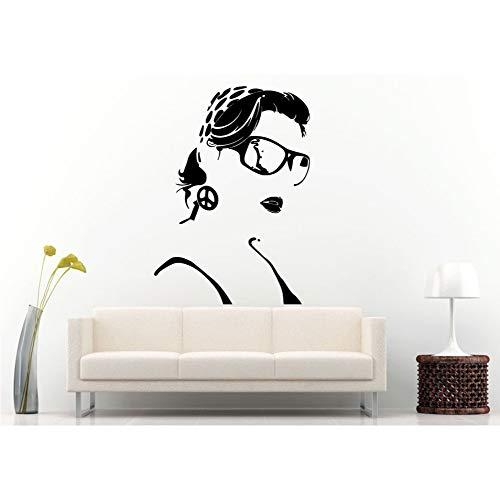 (zlhcich Mädchen Schönheitssalon Wandtattoo Sexy Frau Bandana Brille Vinyl Friedenszeichen Kunstwand Swag Abnehmbare Shades Wandaufkleber 42 * 66 cm)