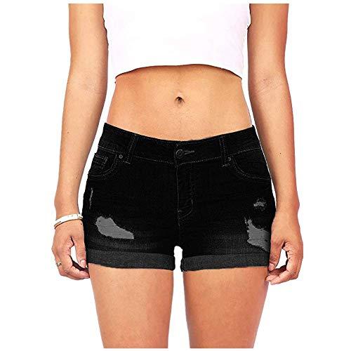 Tanz Drawstring Shorts (Weant Shorts Damen Sommer Kurze Hose Mode Frauen Einfarbig Rissen Sexy Strand Sport Hot Pants Bermuda Shorts Sommer Strandshorts mit Taillenband (Schwarz Weiß, S-3XL))